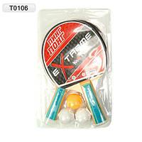 Теннис настольный T0106 2 ракетки + 3 мячика, под слюдой 25*15см
