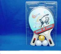 Теннис настольный T0103 2 ракетки + 3 мячика, под слюдой 25*15 см