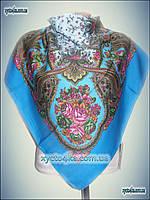 Шерстяной платок Сказочные дали голубой