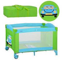 Манеж M 2237 детский, 2 колеса с тормозом, боковой карман, зелено-голубой, 124-65-83см, складывается в сумку
