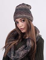 Оригинальный женский комплект - шапка и хомут 3024 (коричневый меланж)