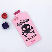 3D Terrorist Scull Cover Chill Pills Poison Soft Silicon Case Pink для iPhone 5/5S