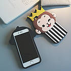 Cute 3D Crown Monkey Love Heart Eyes Soft Silicon Case Back Cover для iPhone 6/6S, фото 2