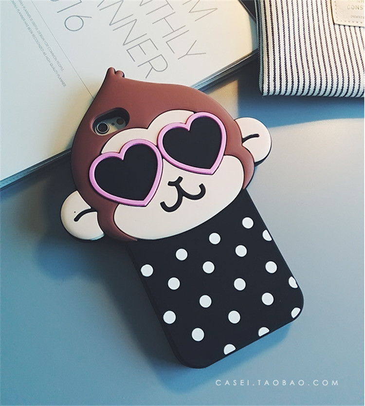 Cute 3D Dot Monkey Love Heart Eyes Soft Silicon Case Back Cover для iPhone 6/6S