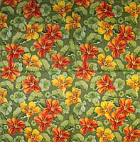 Редкая салфетка для декупажа Цветы на зелёном фоне 6091