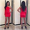 Молодежное платье один рукавчик красное