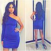Молодежное платье один рукавчик синее