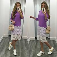 Платье с кружевным низом рукав 3\4
