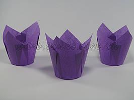 Бумажная формы для маффинов тюльпан фиолетовый