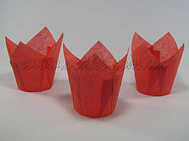 Бумажная формы для маффинов тюльпан красный
