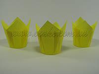 Бумажная формы для маффинов тюльпан желтый