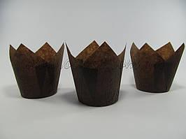 Бумажная формы для маффинов тюльпан коричневый