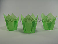 Бумажная формы для маффинов тюльпан зеленый