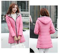 Женская розовая удлиненная куртка
