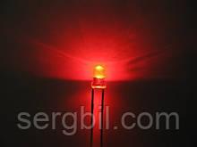 3мм светодиод красный яркий, корпус прозрачный