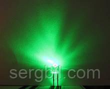 4.8мм светодиод зеленый ультраяркий 520нм 800мКд 120°, корпус прозрачный