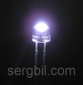 4.8мм светодиод белый ультраяркий 6000К, 1400-1600мКд, 120град