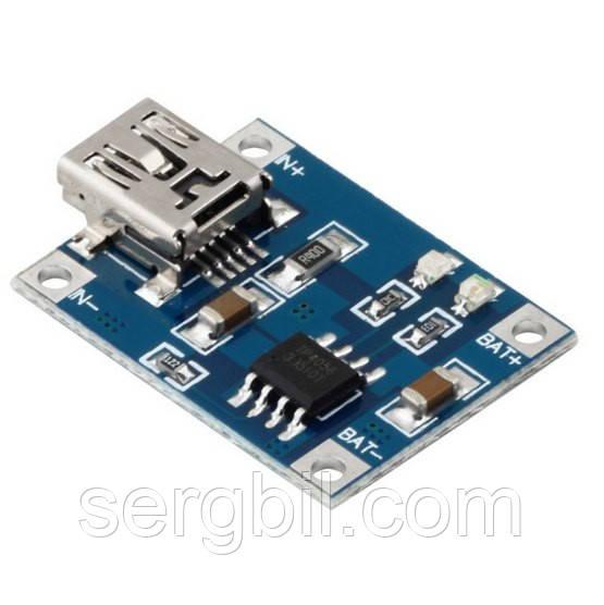 USB зарядное устройство для литиевых батарей 3,7В, Imax 1A, TP4056 разьем miniUSB