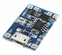 USB зарядное устройство для литиевых батарей 3,7В, Imax 1A, TP4056 с защитой батареи, разьем microUSB