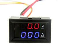 Вольтметр DC 0-100В красный + амперметр DC 0-10A с шунтом синий, питание 4,5-30В