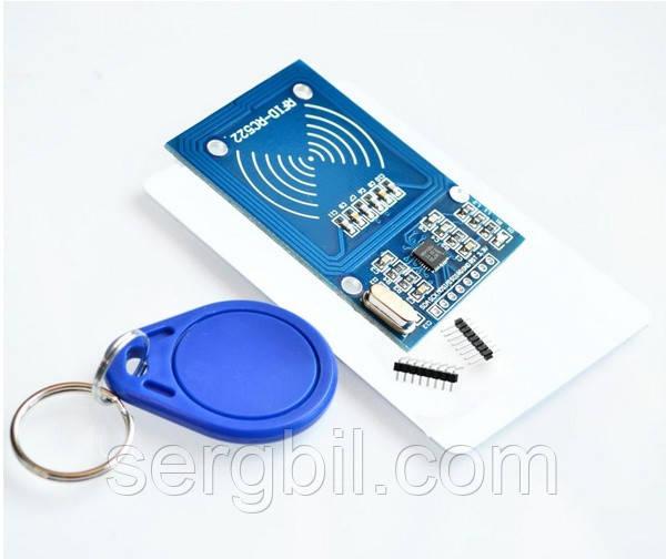 Rfid-метка модуль RC522 комплект S50 13.56 мГц 6 см с брелком и карточкой, интерфейс приемника SPI
