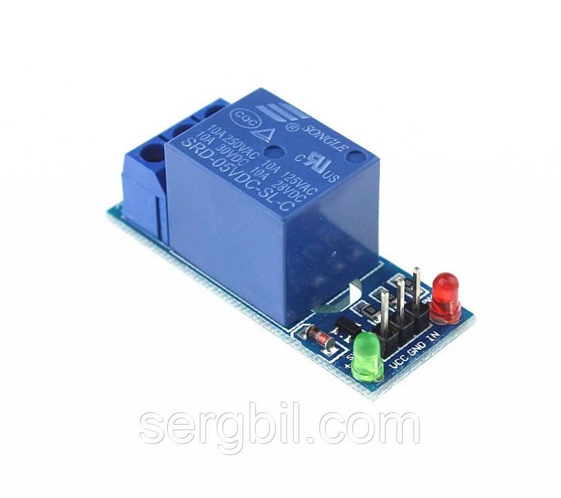 Релейний модуль, 1-канал, живлення 5В, контакти 250В/10А
