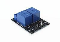 Релейный модуль, 2-канала, питание и управление - 5В, контакты 250В, 10А