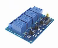 Релейный модуль, 4-канала, питание и управление - 5В, контакты 250В, 10А