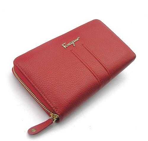 Кошелек женский на змейке кожаный красный Salvatore Ferragamo 4388