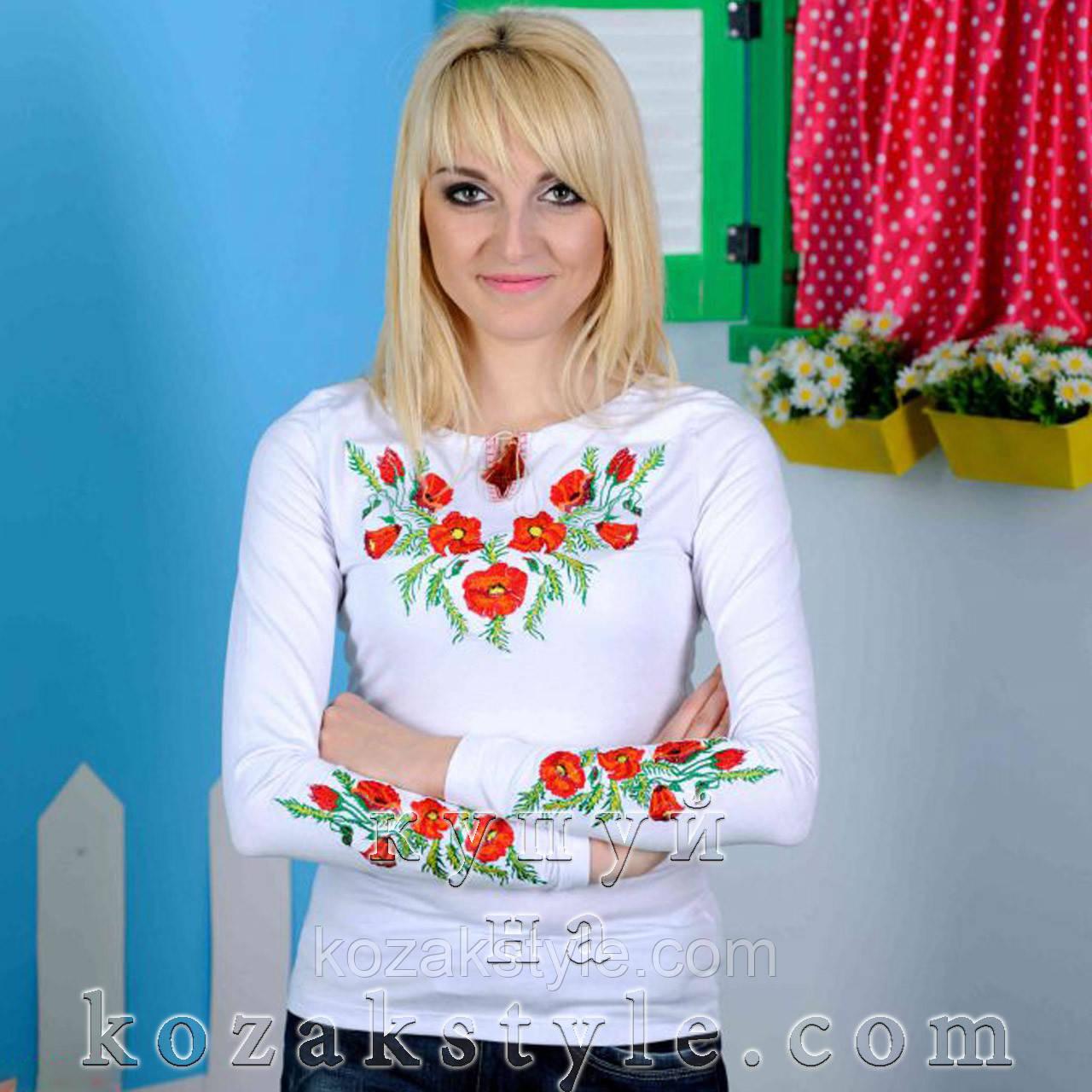 """Трикотажна вишиванка """"Мак класичний"""" біла - Український одяг. Патріотичний одяг. Вишиванки. Крамниця """"Козак-style"""" в Запорожье"""