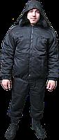 Куртка утепленная для охраны черная с меховым воротом