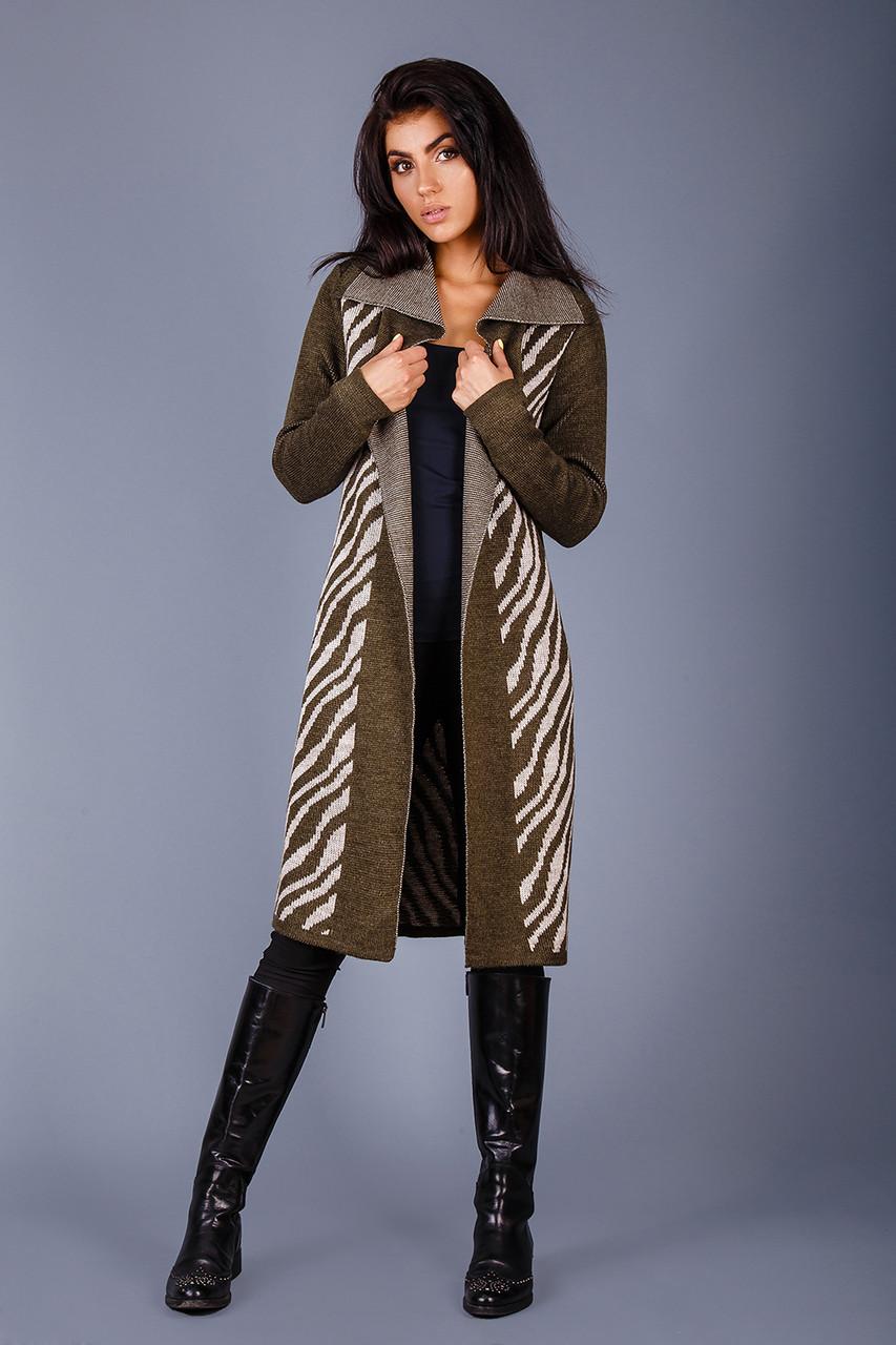Элегантный кардиган-пальто с геометрическим узором (разные цвета)