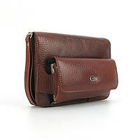Кожаная маленькая сумочка мужская коричневая на пояс