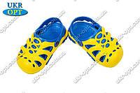 Детские кроксы (Код: Сабо жёлто-синий)
