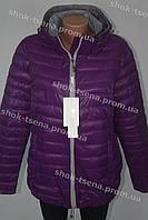 Яркая теплая женская куртка на замке с капюшоном холофайбер батал фиолетовая