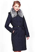 Женское зимнее пальто Сесилия  с меховым воротником и поясом 44-56 рр