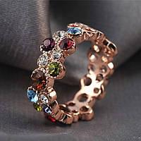 """Женское кольцо с цветными кристаллами """"Elegance X"""" позолота"""
