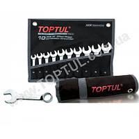 Набор ключей комбинированных укороченных 10 шт. 10-19 (черный чехол) GPAF1001 TOPTUL