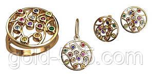 Красочный золотой ювелирный набор из трех частей