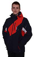 Мужская горнолыжная куртка черная с красными и белыми вставками