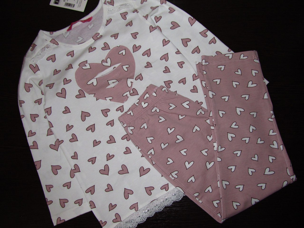 """Пижама для девочки длинный рукав """"Кофйные сердечки"""" р.122, 95% хлопок, GNP 012/001, ELLEN"""
