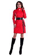 Женское красное стеганое демисезонное пальто арт. Андрия 5398