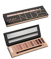 Тени для век L.A. Girl Beauty Brick Eyeshadow Collection Nudes палитра 12 оттенков , фото 1