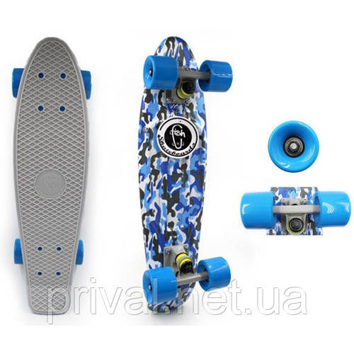 Скейтборд Penny Board CAMO BLUE FISH SK-4444