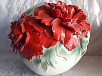 "Круглая ваза ""Маки"", фото 1"
