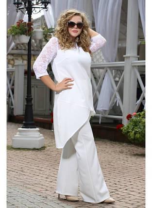 Женский костюм двойка Миндаль цвет белый до 72 размера, фото 2