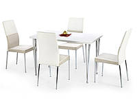 Белый стол Halmar Faron с прямоугольной лакированной столешницей