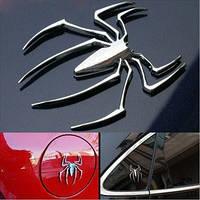 Паук - стальной значок, универсальная автомобильная наклейка