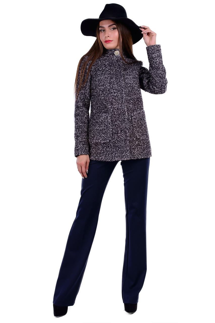 Женское черное осеннее короткое пальто арт. Мелини букле лайт 6934
