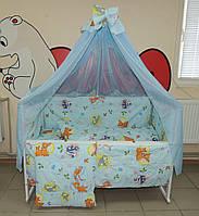 Детское постельное белье голубое Бэмби Bonna 9 в 1 + ДЕРЖАТЕЛЬ ДЛЯ БАЛДАХИНА В ПОДАРОК!
